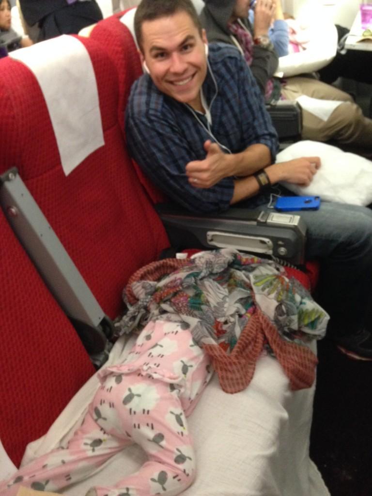 Ella sleeping on the plane